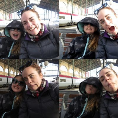 Selfies at a train station in Belgium
